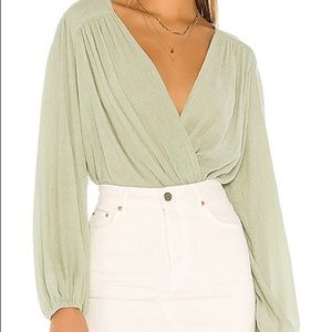 Free People Check On It Wrap Top in Green S